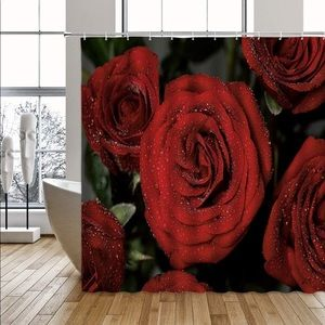 Other - Red Flowers Floral Shower Curtain